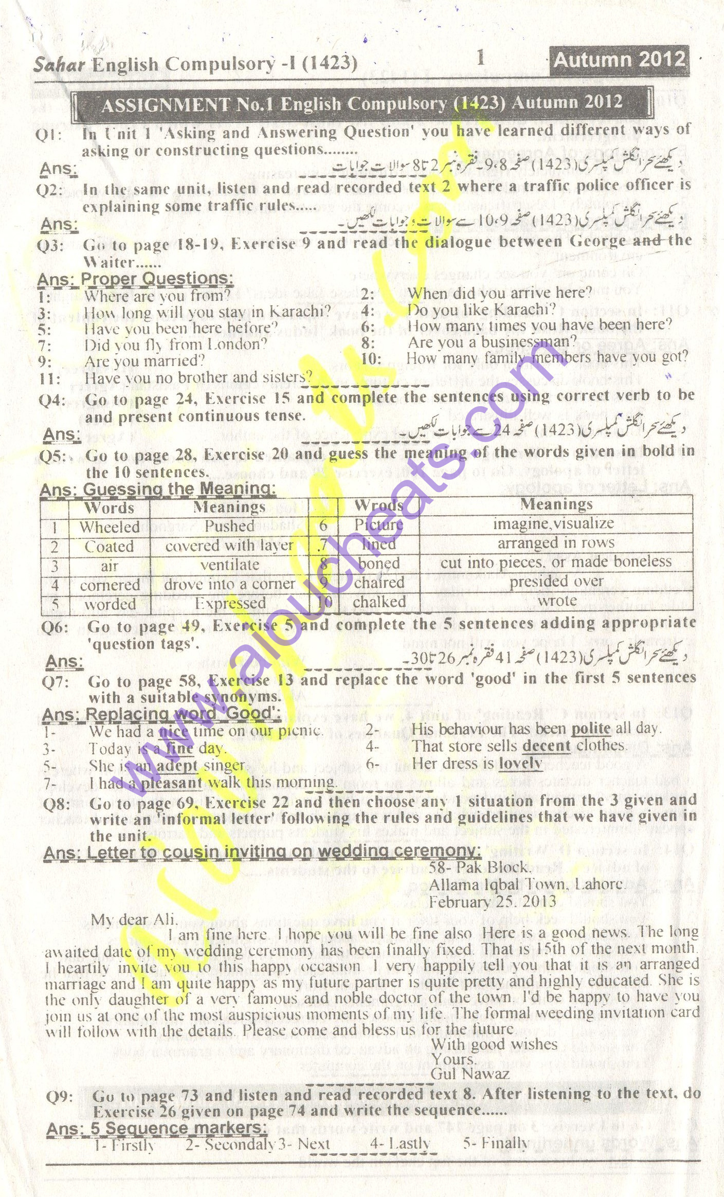 assignment paper aiou Aiou old paper all of allama iqbal open university bachelor bed  here i would like the advice you to write your aiou assignment for instance on the other hand.